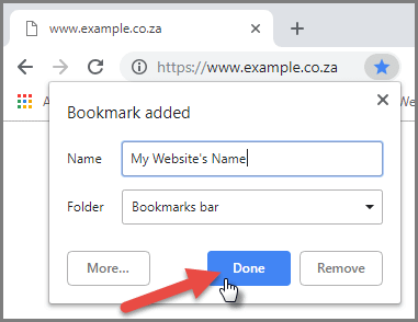 Bookmarking your website - Saving your Bookmark
