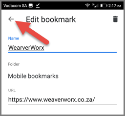 Bookmarking on Chrome (Android) - Editing the Bookmark
