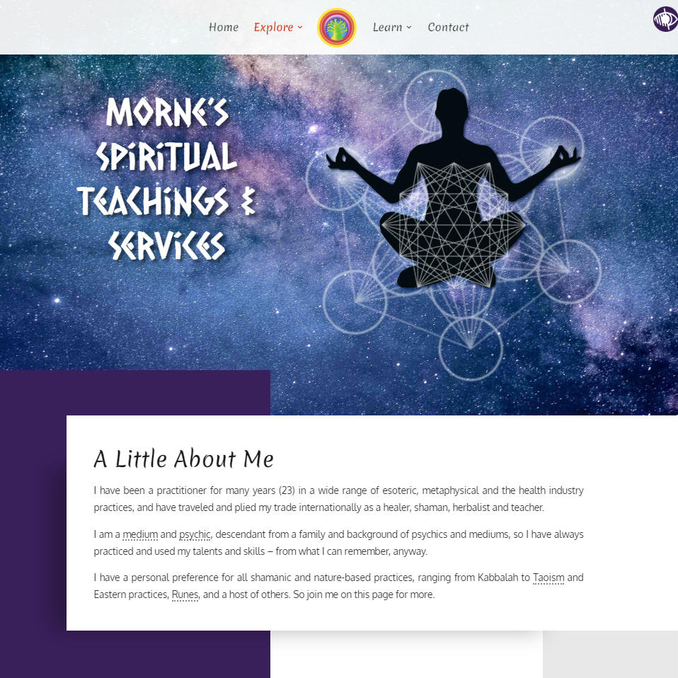TREE Safaris website Spiritual Teachings & Services page