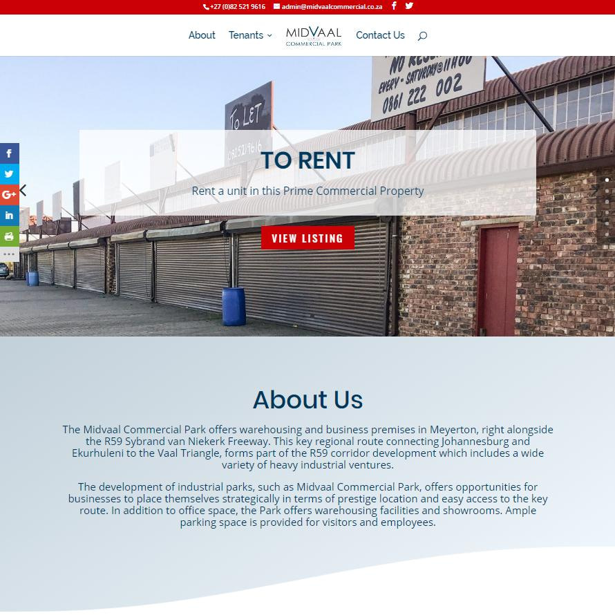 Midvaal Commercial Website Homepage