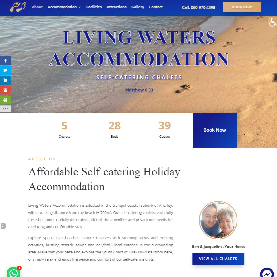 Living Water Accommodation Homepage