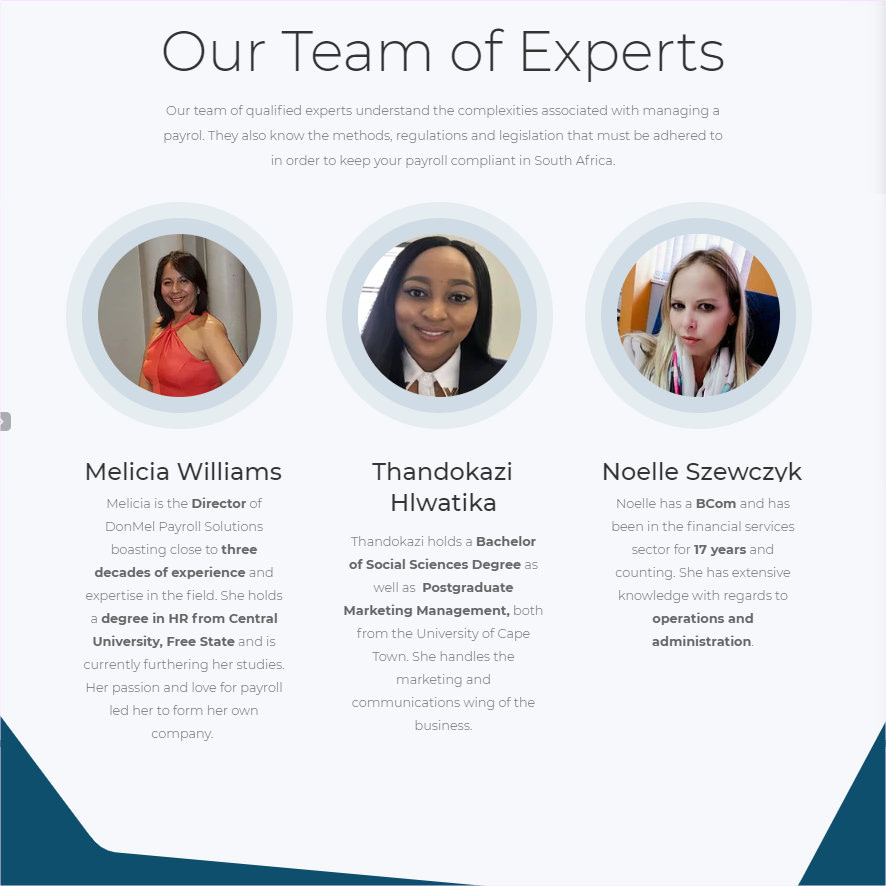 DonMel Payroll Solutions Our Team Section