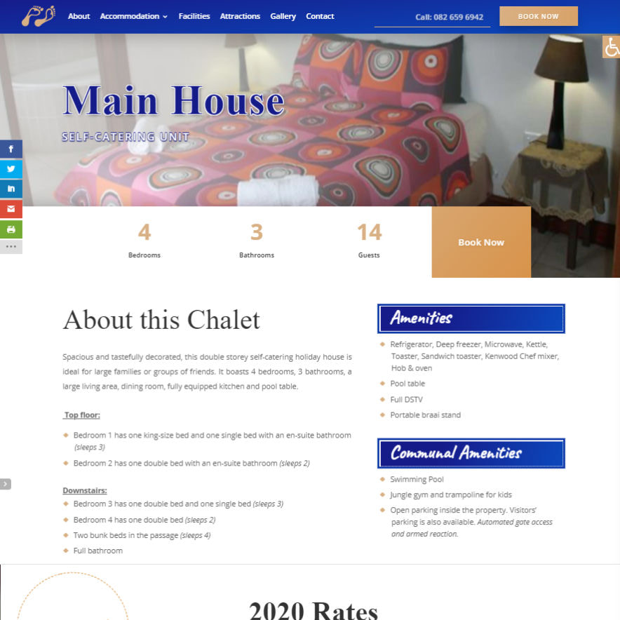 Living Water Accommodation Chalet Page