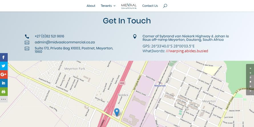 Midvaal Commercial website contact section