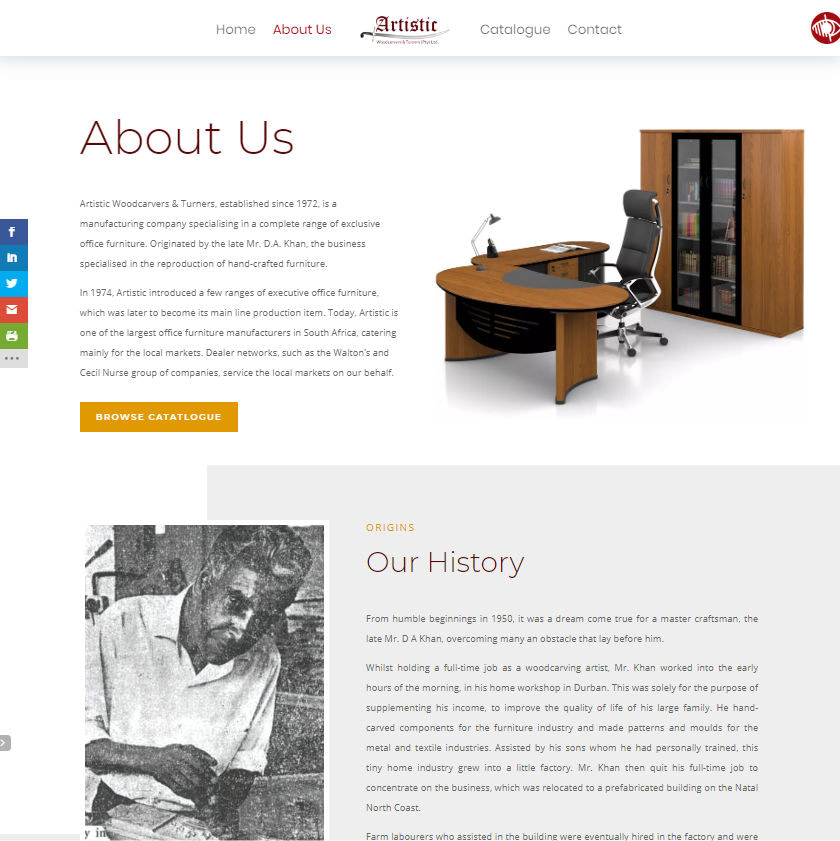 Artistic Woodcarvers & Turners Website About Page