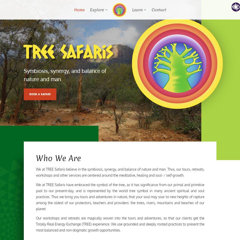 TREE Safaris website homepage