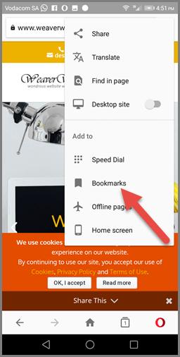 Bookmarking on Opera (Android) - Bookmark Option